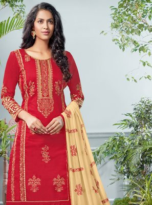 Red Cotton Mehndi Salwar Suit