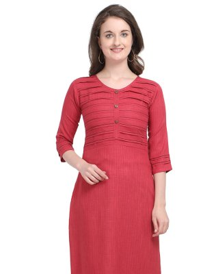 Red Cotton Party Party Wear Kurti