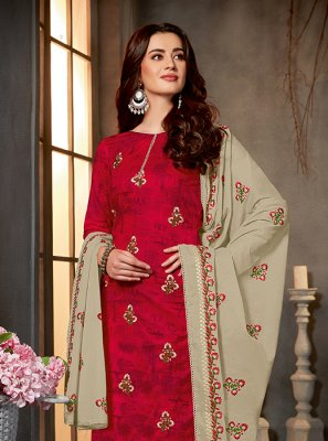 Red Cotton Salwar Kameez