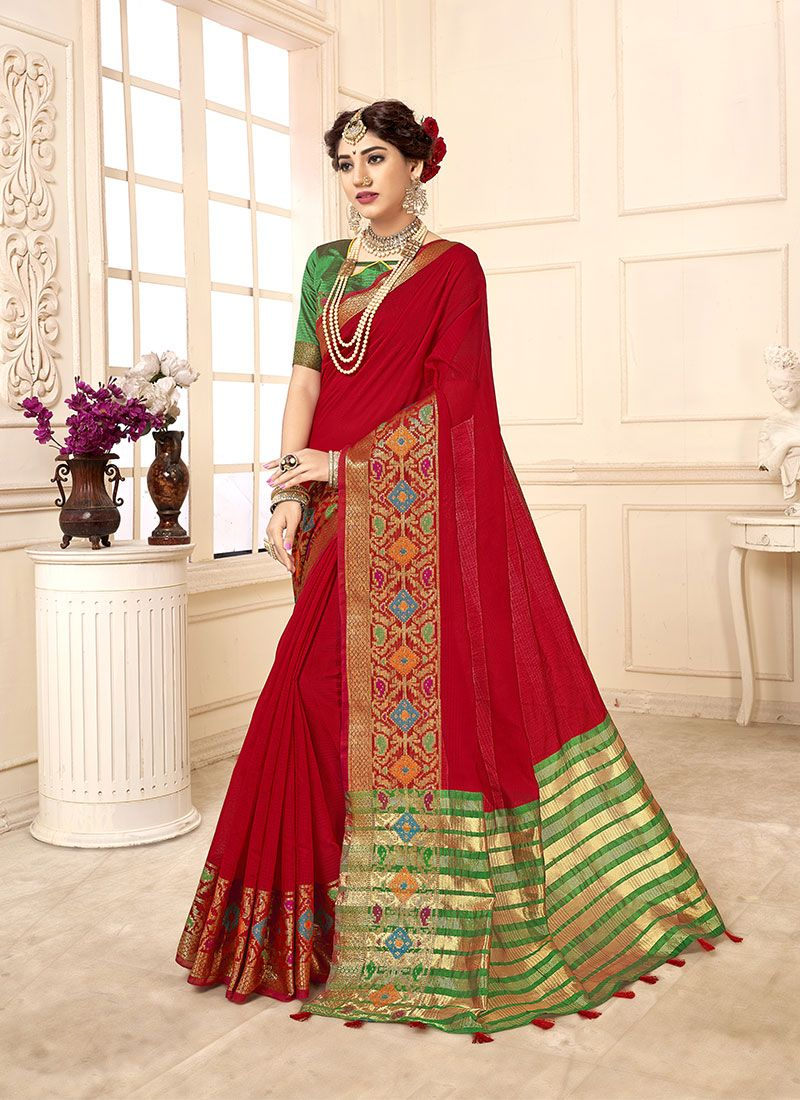 Red Cotton Silk Casual Saree