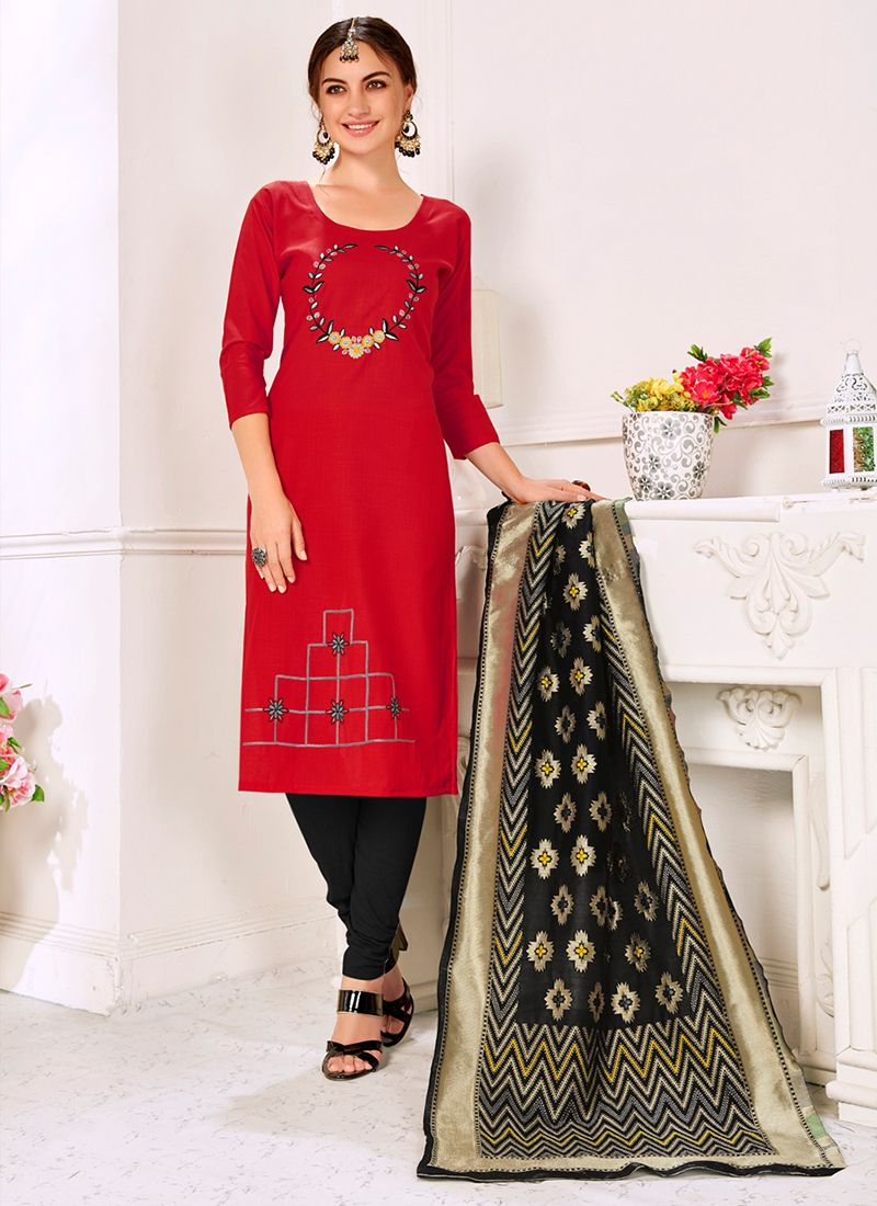 Red Cotton Trendy Churidar Suit