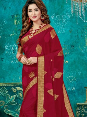 Red Crepe Silk Sangeet Designer Traditional Saree