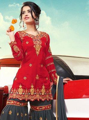 Red Designer Palazzo Salwar Suit