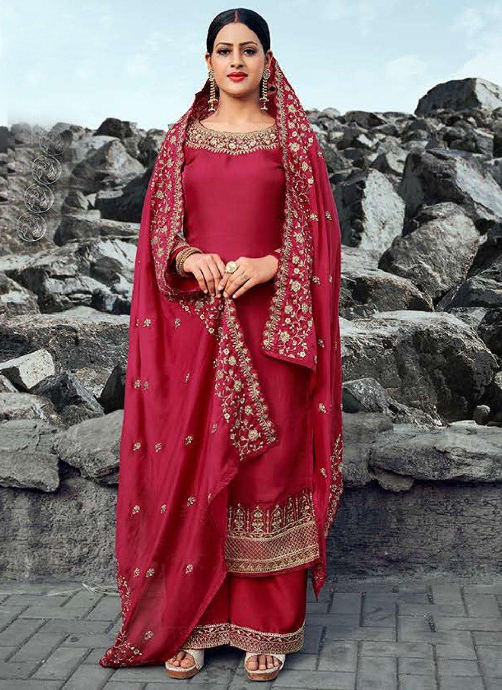 Red Designer Palazzo Suit