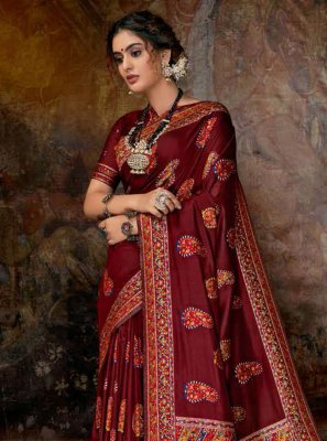 Red Digital Print Banarasi Silk Classic Saree