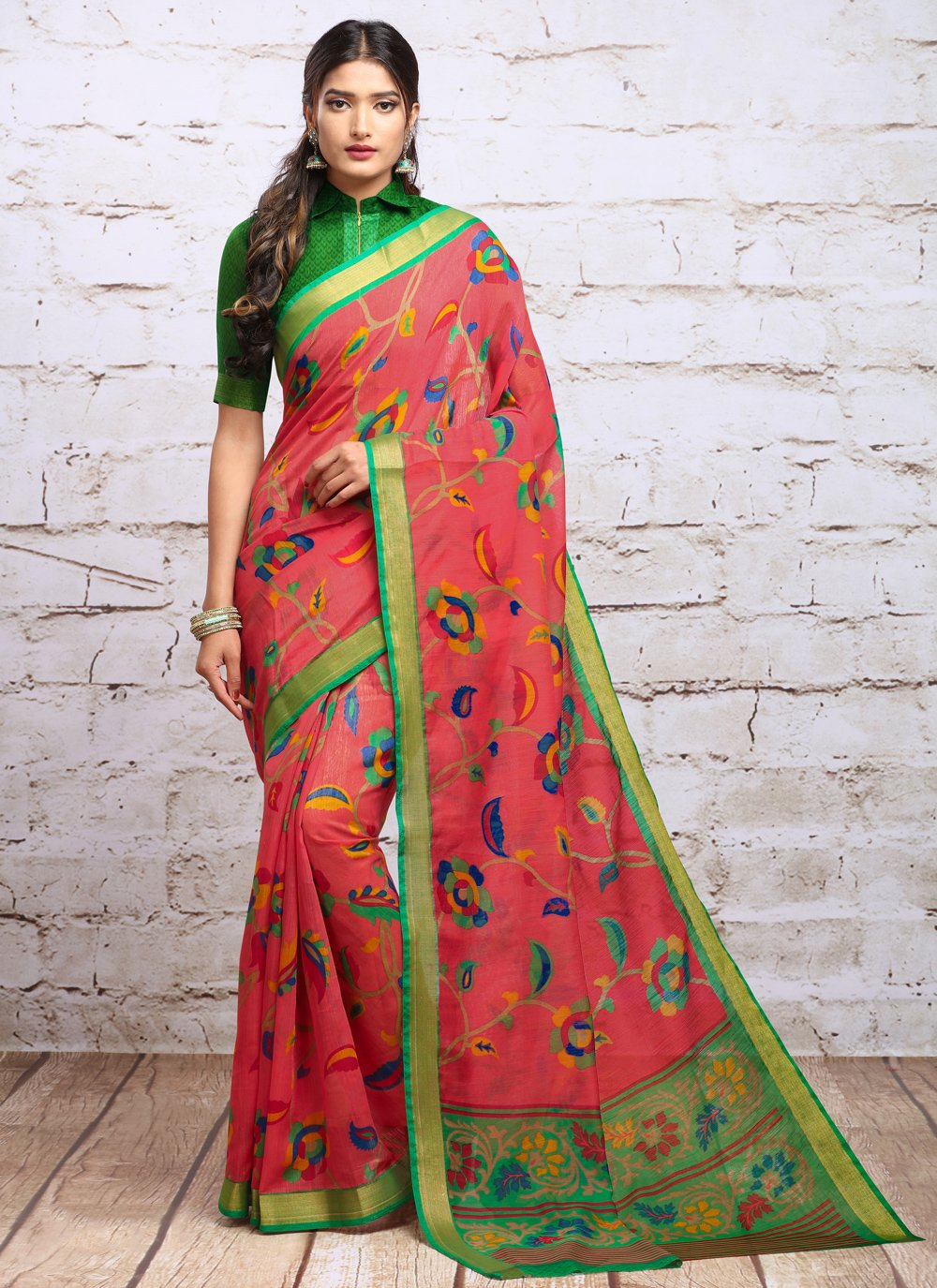 Red Digital Print Party Trendy Saree