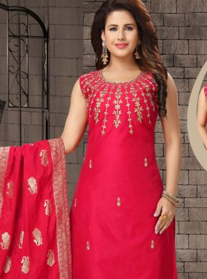 Red Dori Work Salwar Suit