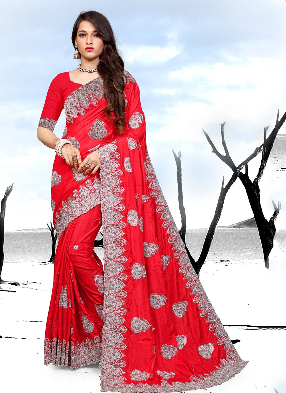 Red Embroidered Art Silk Saree