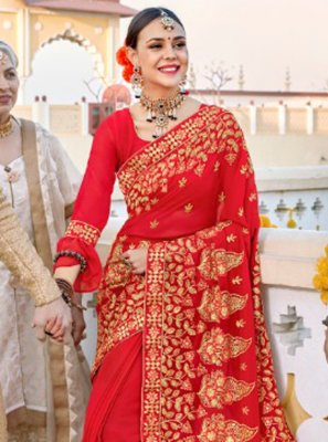 Red Embroidered Bollywood Saree