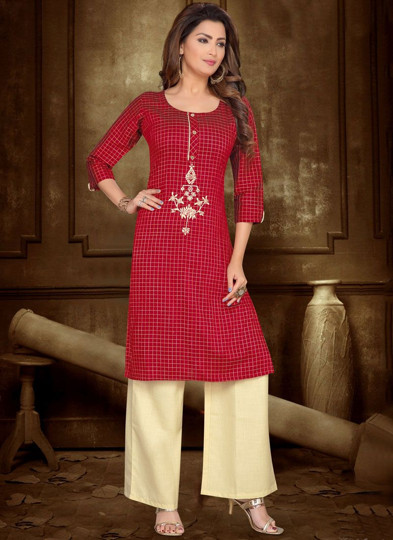 Red Embroidered Casual Kurti
