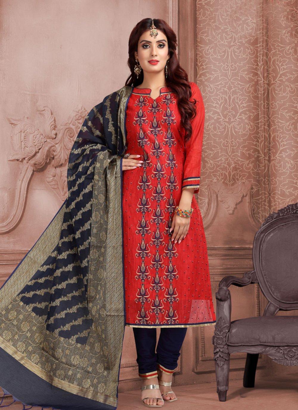 Red Embroidered Churidar Salwar Kameez