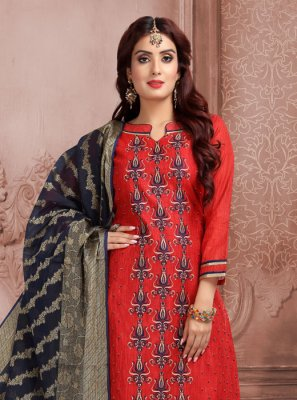 Red Embroidered Churidar Salwar Kameez