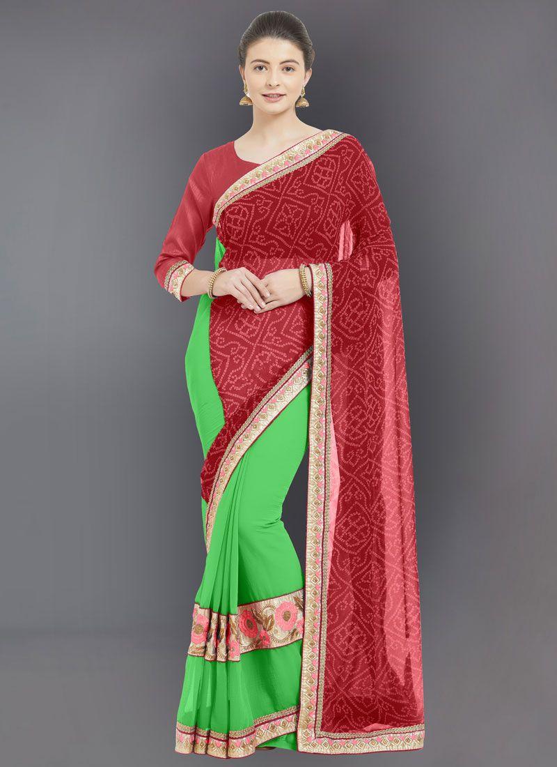 Red Embroidered Designer Half N Half Saree
