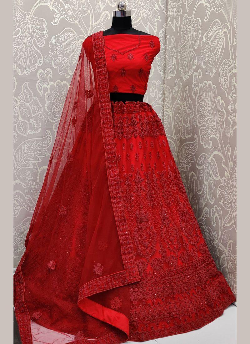 Red Embroidered Designer Lehenga Choli