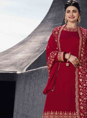 Red Embroidered Designer Palazzo Salwar Kameez