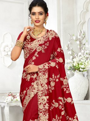 Red Embroidered Engagement Silk Saree