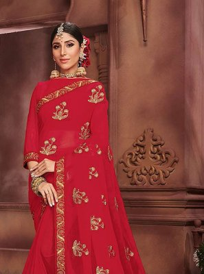 Red Embroidered Faux Chiffon Classic Designer Saree