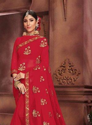 Red Embroidered Faux Chiffon Classic Designer Saree