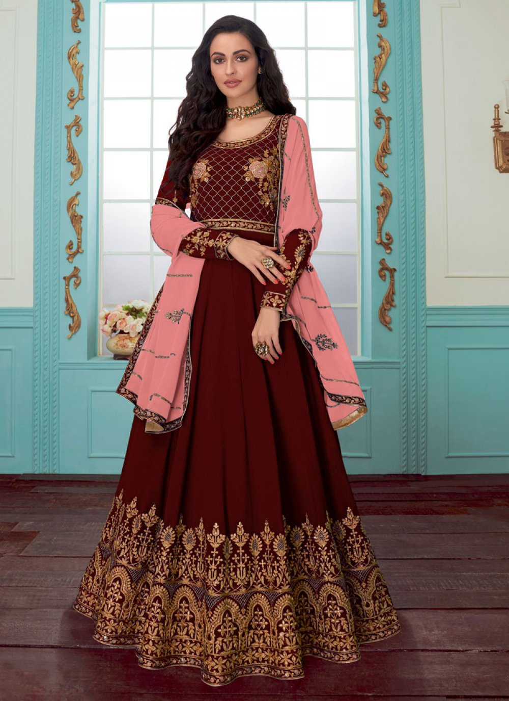 Red Embroidered Faux Georgette Anarkali Salwar Suit