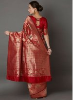 Red Embroidered Festival Silk Saree