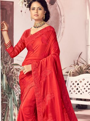 Red Embroidered Festival Traditional Saree