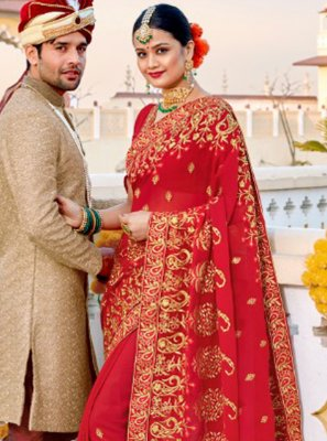 Red Embroidered Georgette Contemporary Saree