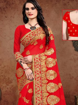 Red Embroidered Georgette Designer Saree