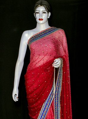 Red Embroidered Jacquard Designer Saree