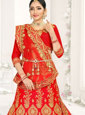 Red Embroidered Lehenga Choli