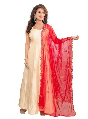 Red Embroidered Mehndi Designer Dupatta