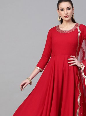 Red Embroidered Party Floor Length Trendy Gown