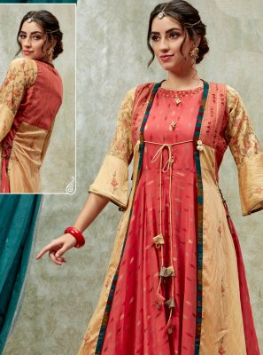 Red Embroidered Party Wear Kurti