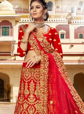 Red Embroidered Reception A Line Lehenga Choli