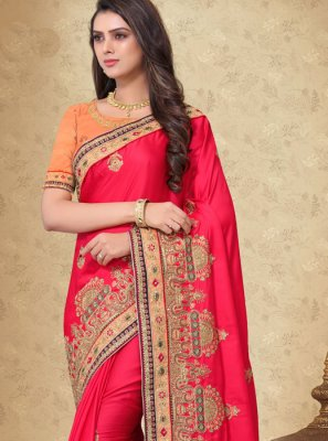 Red Embroidered Sangeet Designer Saree