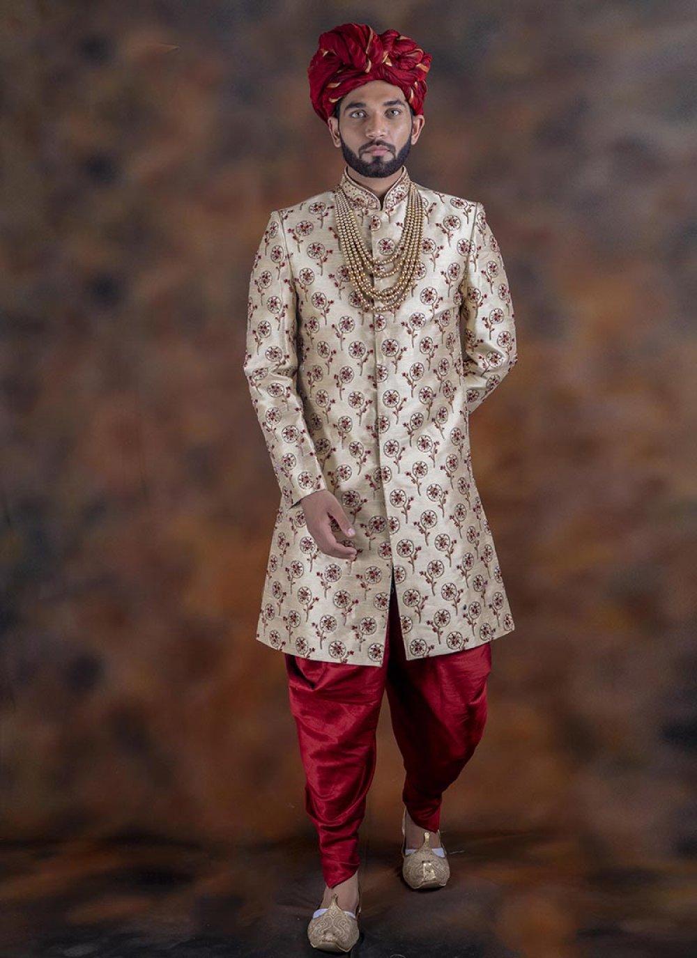 Red Embroidered Sangeet Indo Western Sherwani