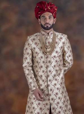 Red Embroidered Sangeet Indo Western Sherwani