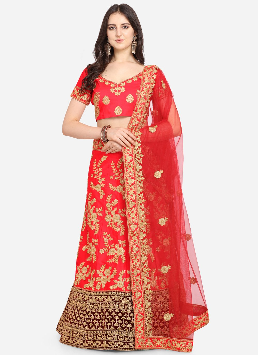 Red Embroidered Satin Bollywood Lehenga Choli