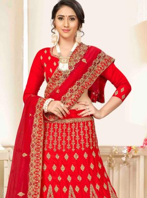 Red Embroidered Satin Silk A Line Lehenga Choli
