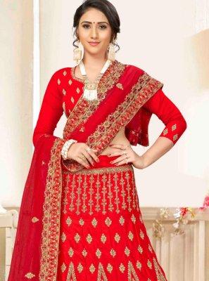 Red Embroidered Satin Silk A Line Lehenga Choli