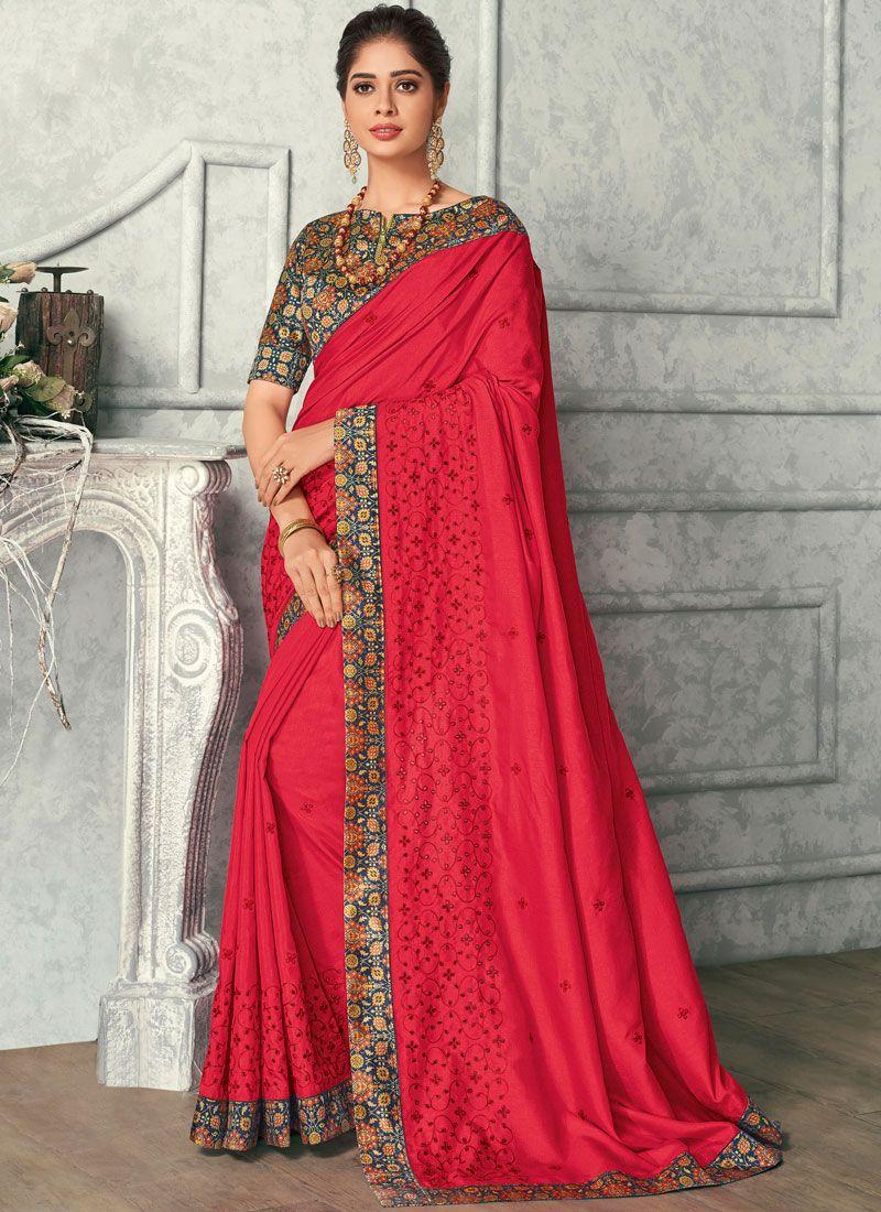 Red Embroidered Satin Silk Designer Saree