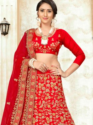 Red Embroidered Satin Silk Trendy Lehenga Choli