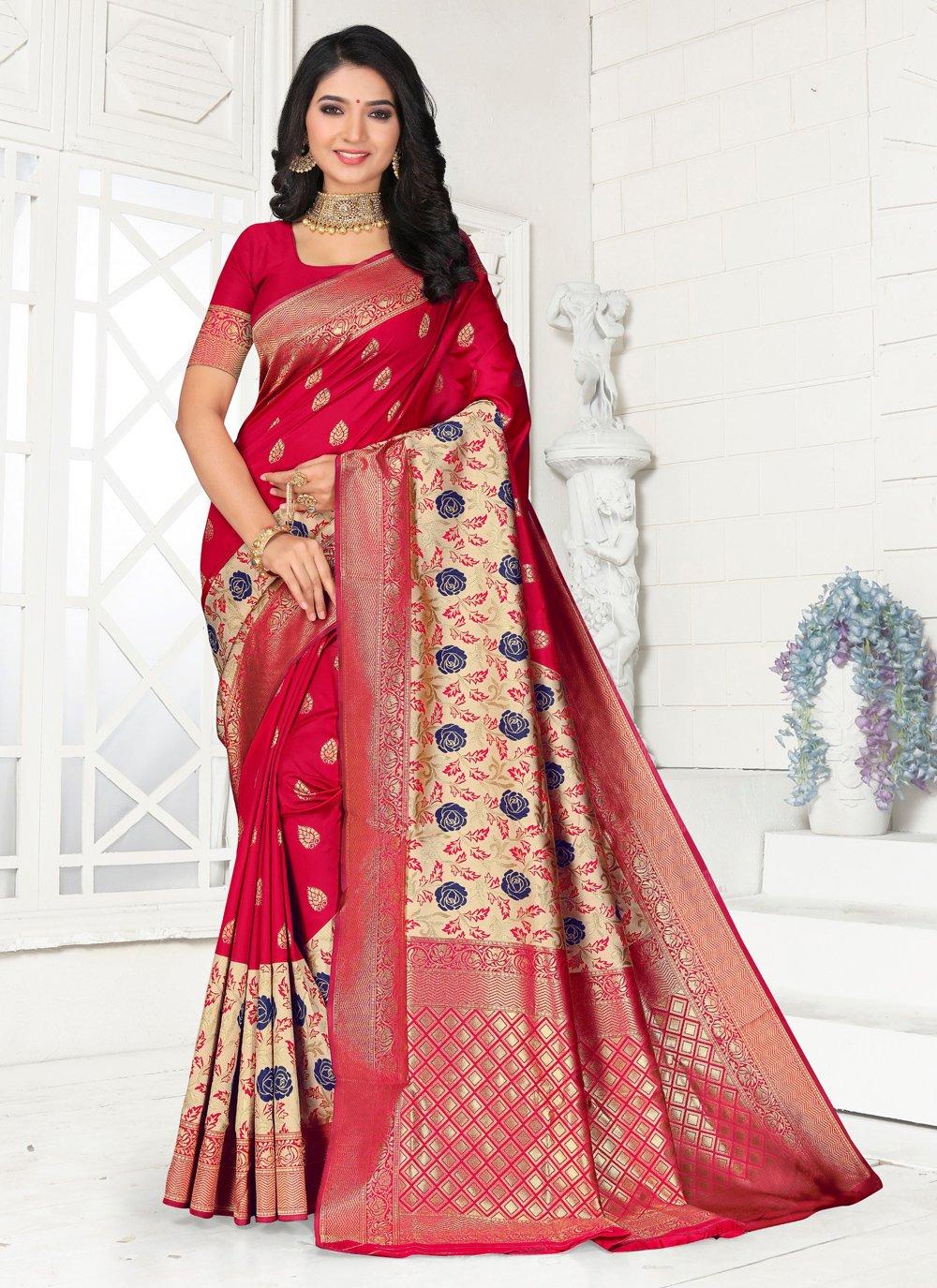 Red Embroidered Silk Designer Saree