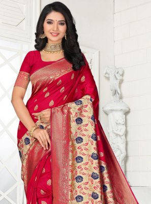 Red Embroidered Silk Designer Saree