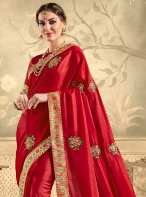 Red Embroidered Silk Traditional Saree