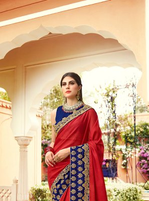 Red Embroidered Traditional Saree