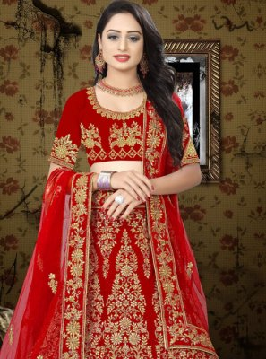 Red Embroidered Velvet A Line Lehenga Choli