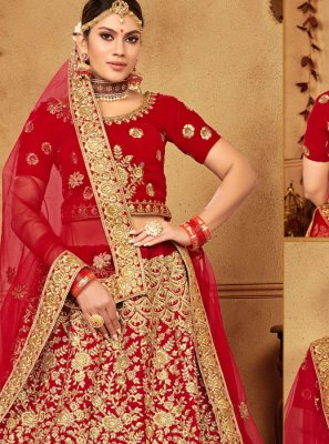 Red Embroidered Velvet Trendy Designer Lehenga Choli