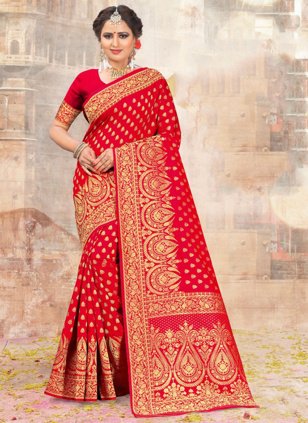 Red Embroidered Wedding Classic Designer Saree