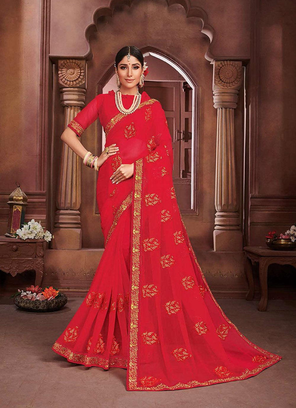Red Faux Chiffon Embroidered Classic Saree