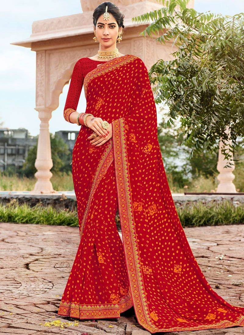 Red Faux Georgette Abstract Print Printed Saree